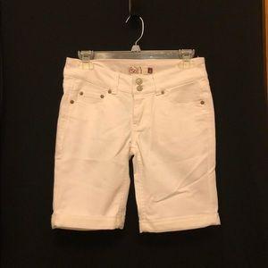 White long jean shorts